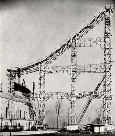 View of TECO-built ski jump tower at Soldier Field, 1937.