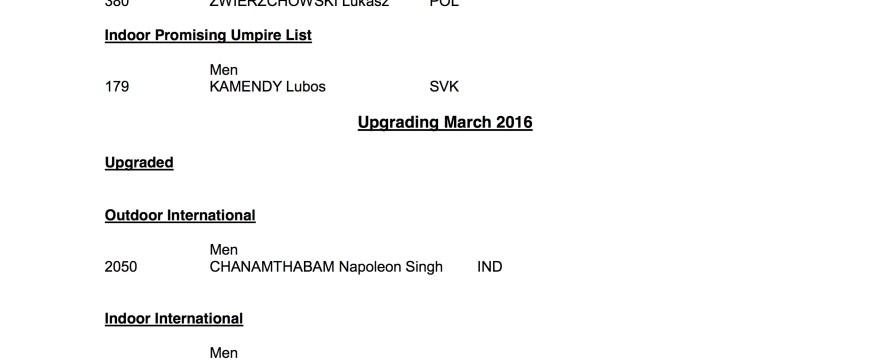 FIH Umpire Upgrades: Feb-Mar 2016