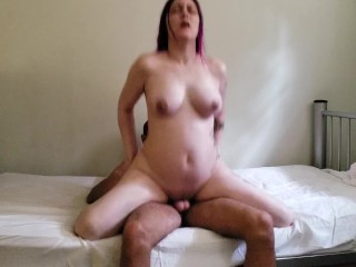 Riding daddy reverse cowgirl