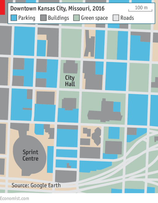 Oceans of parking lots in downtown Kansas City