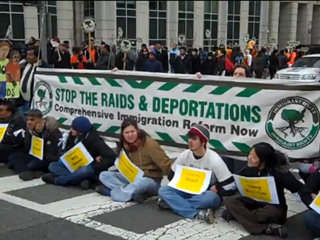 Immigration reform protest outside DHS in Washington DC - Image: Video capture/The Matea Group