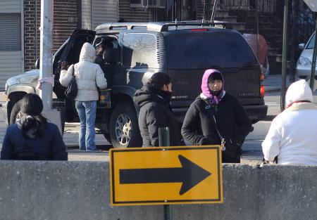 Female day laborers in Williamsburg, Brooklyn - Photos: Marcin Zurawicz.