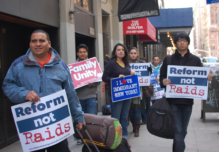 New York immigration activists set out from Manhattan Monday afternoon - Photo: NYIC.