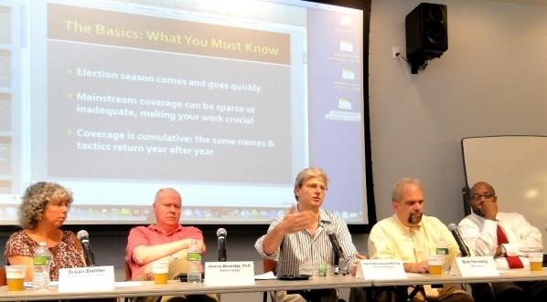 Panelists Susan Stamler, Andrew Beveridge, David Dyssegaard Kallick, Bob Hennelly and Errol Louis at July 15 NYCMA election workshop