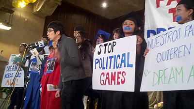 Kevin Kang speaking at a DREAM Act rally in Brooklyn, NY - Photo: Catalina Jaramillo