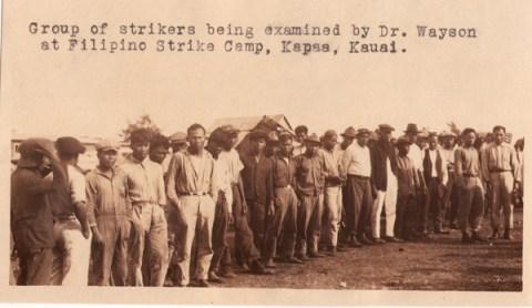 Filipino workers at Hawaiian strike camp, circa 1925