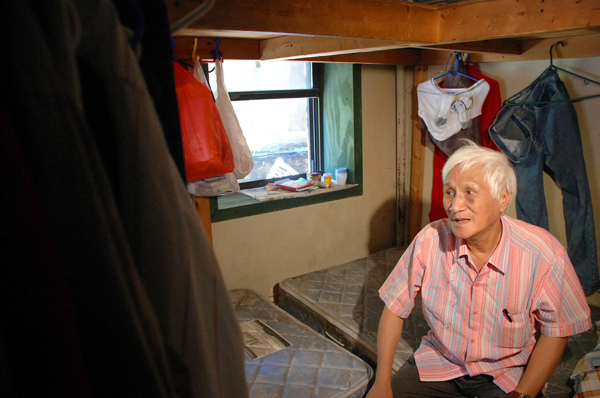 74-year-old Fugao Pan complained his landlord left his rent controlled apartment dilapidated in order to force him out