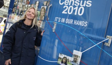 A Census road tour staff member helps set up a stand at an event in Suitland, Md. - Photo: Census Bureau.
