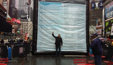 A 20-feet Census form was put up in New York's Times Square - Photo: Census Bureau.