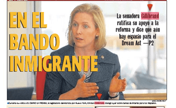 """Gillibrand's evolution: """"On the Immigrant Side"""" read El Diario's cover on October 18, 2010"""