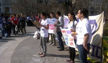 A New York State Youth Leadership Council rally in Union Square, NY, on March