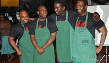 Randel Berha (left), Moses St. Louis, Jean Price Vixamar-Lucien, Ronald Glemaud at an Amateur Cooking Contest