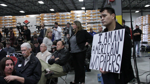 Film still from Documented  - Jose Antonio Vargas at Mitt Romney Rally in 2011. (Photo: APO Productions)