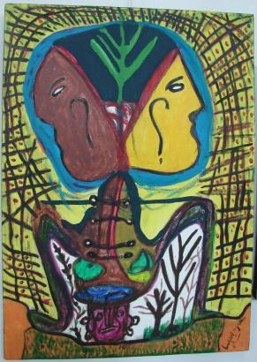 Painting titled 'Heavy Burden' by Ba Djibril Ngawa (Photo: Ba Djibril Ngawa)