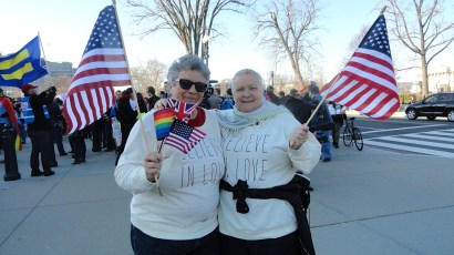 Judy and Karin demonstrating outside the U.S. Supreme Court on March 27, 2013. (Photo: Judy Rickard)