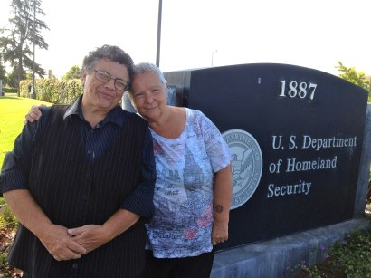 Judy Rickard and her wife Karin Bogliolo outside the San Jose District USCIS office on September 7, 2012. (Photo: Judy Rickard)