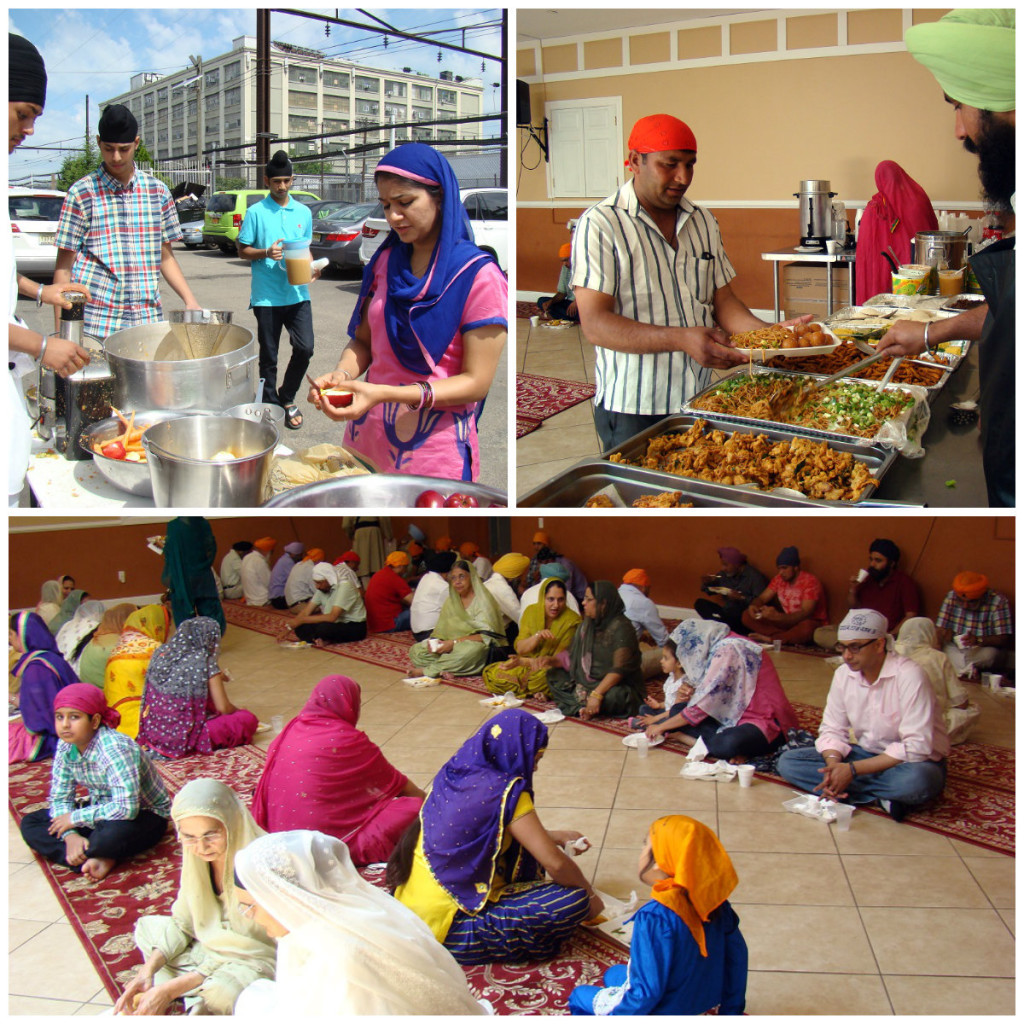 Members of the Sikh gurudwara in Jersey City serve and eat langar meal. Photo by Ramaa Raghavan