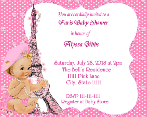 Pink Bow Paris Baby Shower Invitation