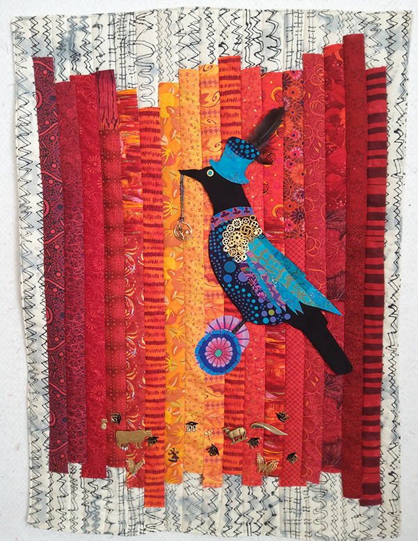 """""""The Covid Corvid"""" by Peggy St. George a bird with gears surrounded by orange and red quilting"""