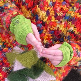 hands knitting at fiber arts festival