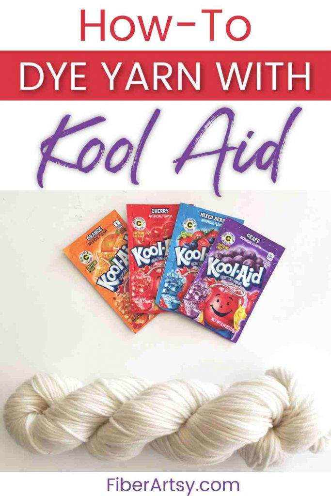 Dyeing yarn with kool aid powder