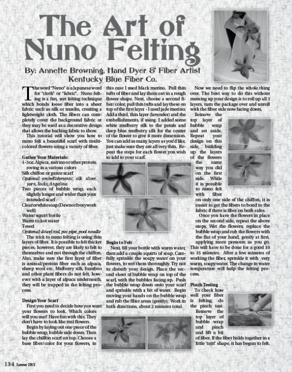 The Art of Nuno Felting by Annette Browning, Kentucky Blue Fiber Co.