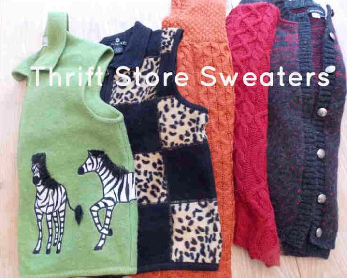 Old Sweaters from a thrift store for upcycling or repurposing