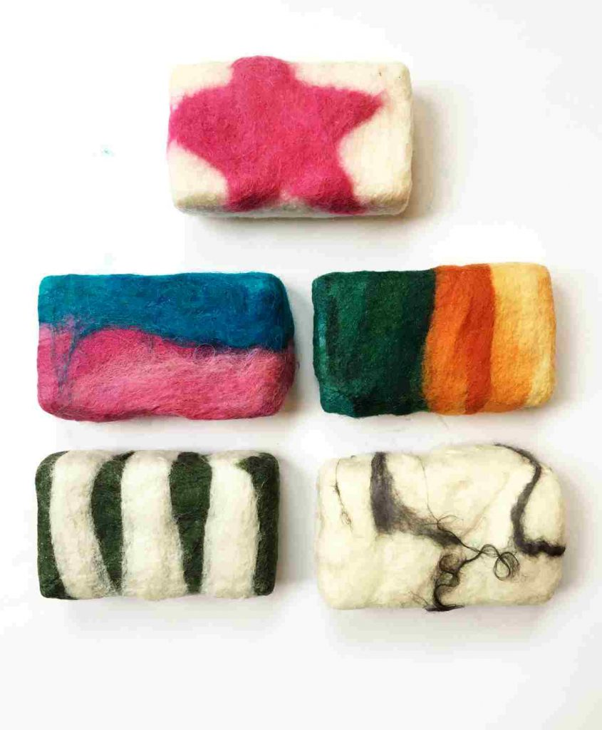 A variety of felted soaps