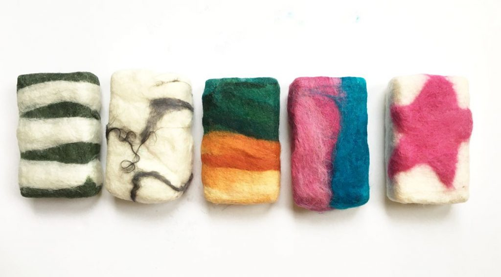Bars of soap felted with wool