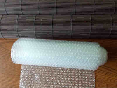Bubble Wrap and a Matchstick Blind used for felting wool