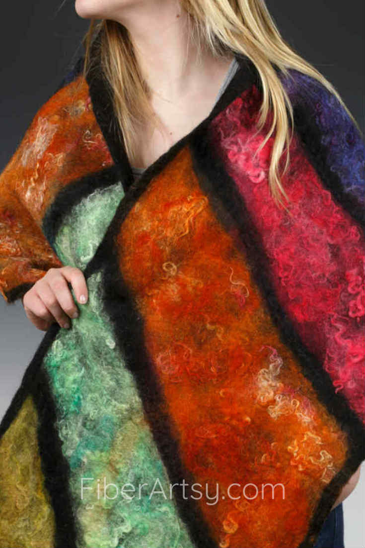 Nuno Felted Shawl with Alpaca Fiber and Merino Wool Roving felted on Silk Fabric