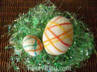 Easter Eggs felted with sheep wool
