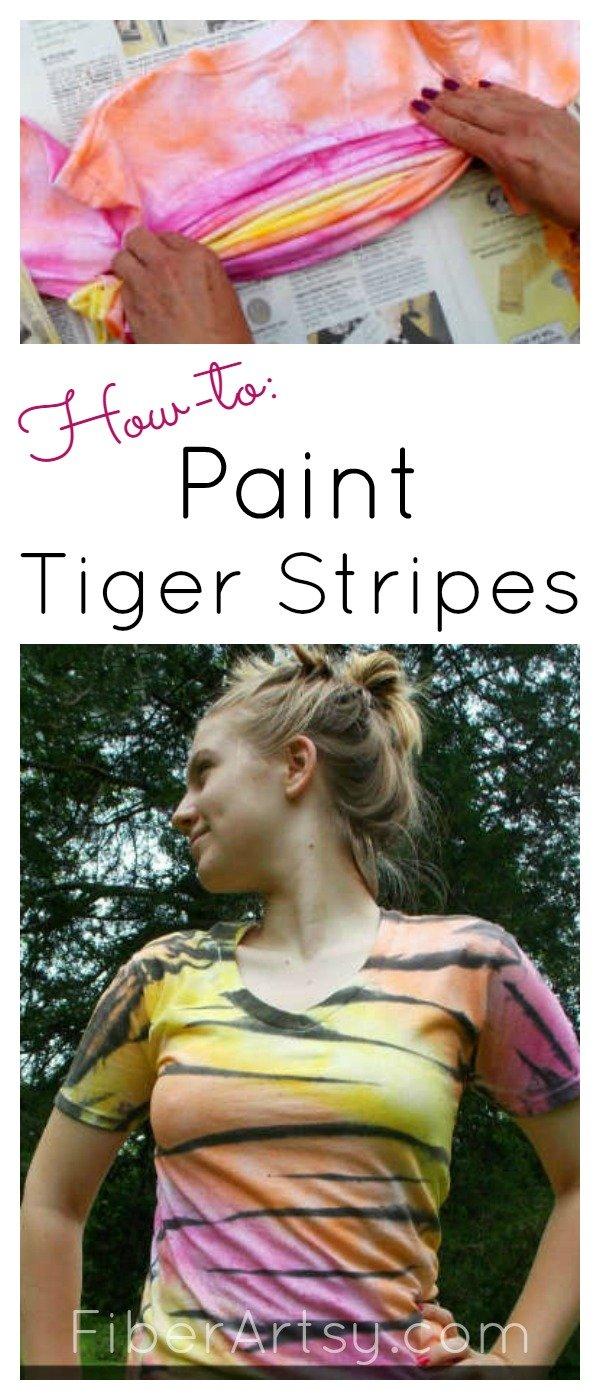 How to paint tiger stripes, a FiberArtsy.com tutorial