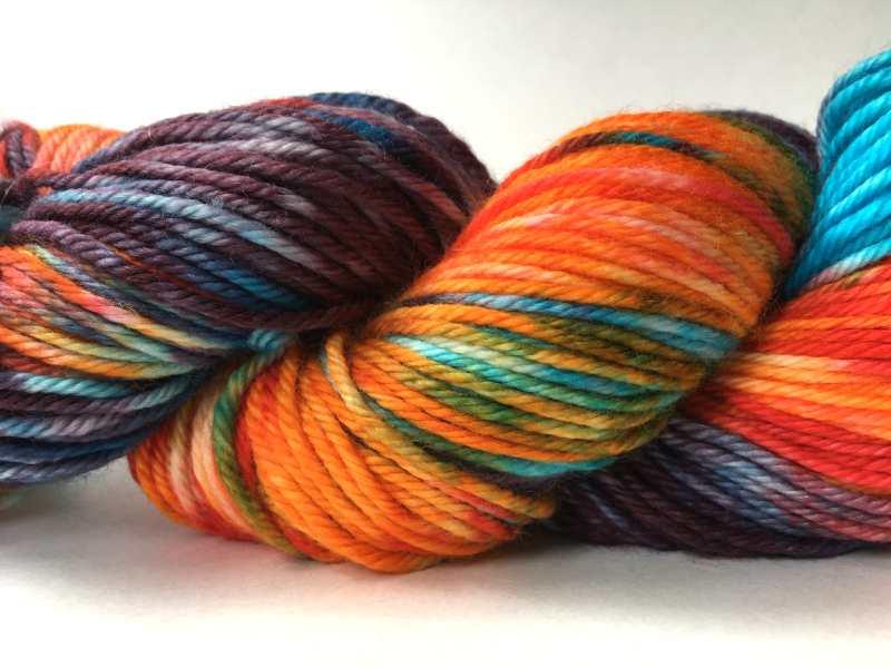 Merino wool yarn dyed with Kool Aid drink powder