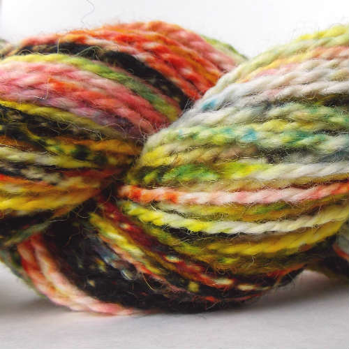Hand dyed yarn with yellow, red and blue dye