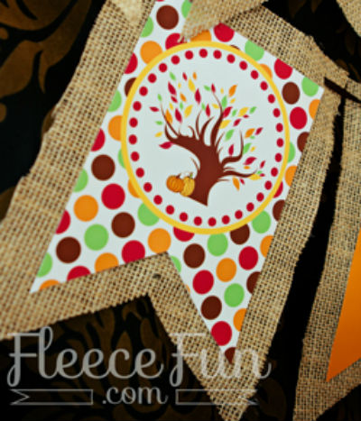 Autumn Decor, Fall Banner made with Burlap Ribbon