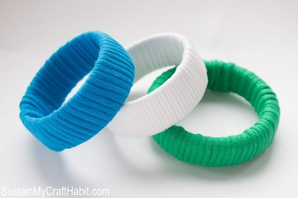 Bangles wrapped with T Shirt Yarn