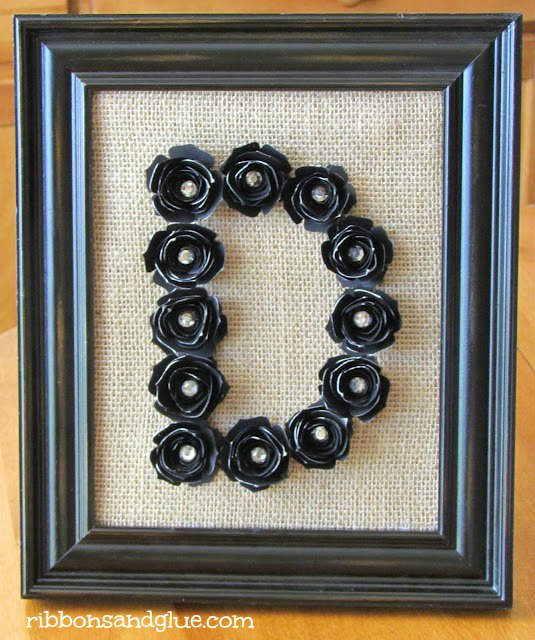 Framed Monogram made with Flowers and Burlap Fabric