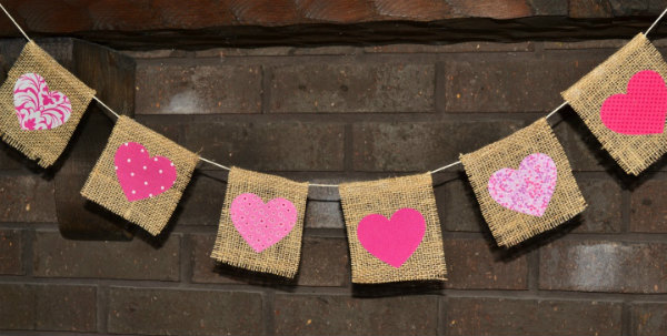 Burlap Banner with painted hearts