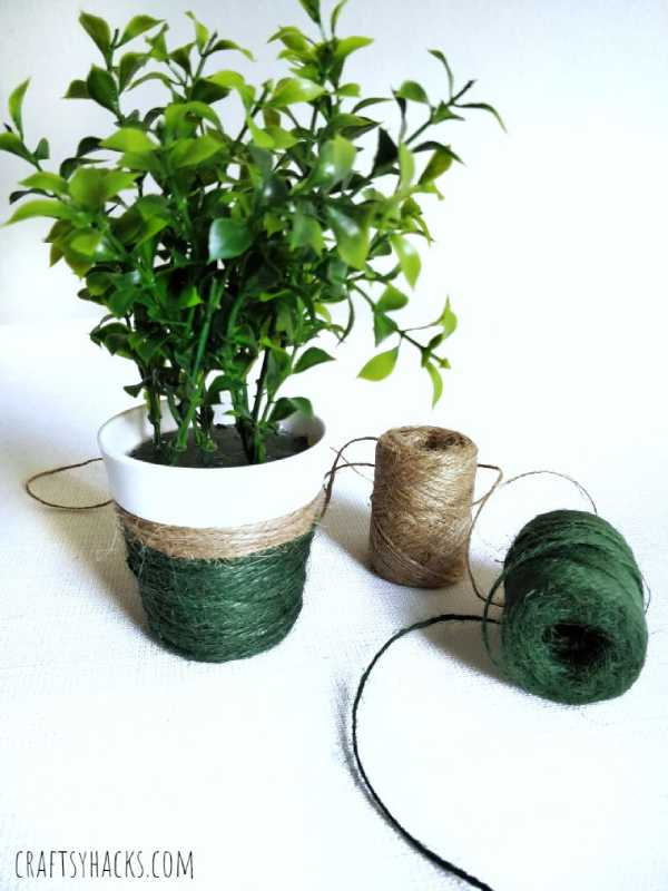 Yarn wrapped flower pot scrap yarn project craft