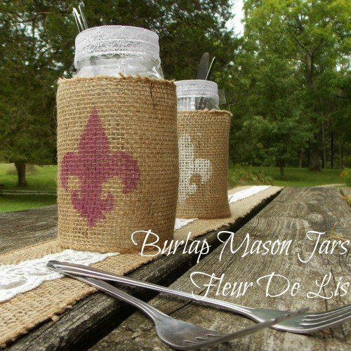 Burlap Wrapped Mason Jars, Fall Table Decor