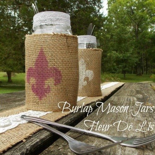 Burlap Wrapped Mason Jars With Fleur De Lis Design