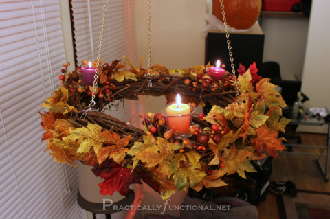 DIY Fall Wreath Chandelier