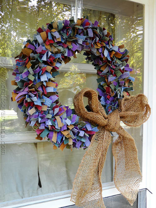 Door Wreath made with Denim Scraps and Burlap Ribbon