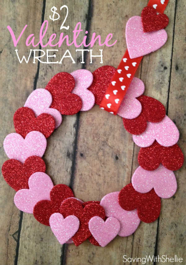 DIY Wreath for Valentines Day made with Hearts
