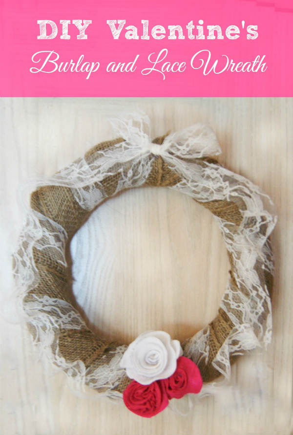 Burlap and Lace Valentine Wreath Idea