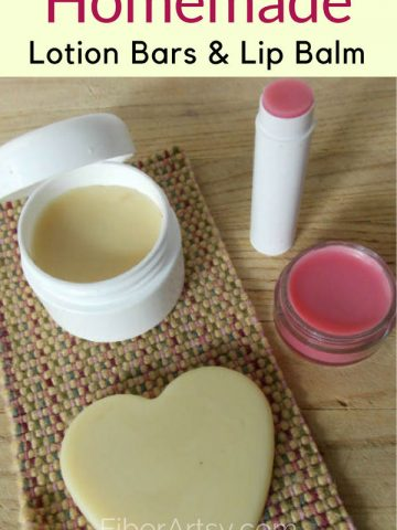 Homemade Lotion Bars and Lip Balm Easy DIY Beauty Recipe by FiberArtsy.com
