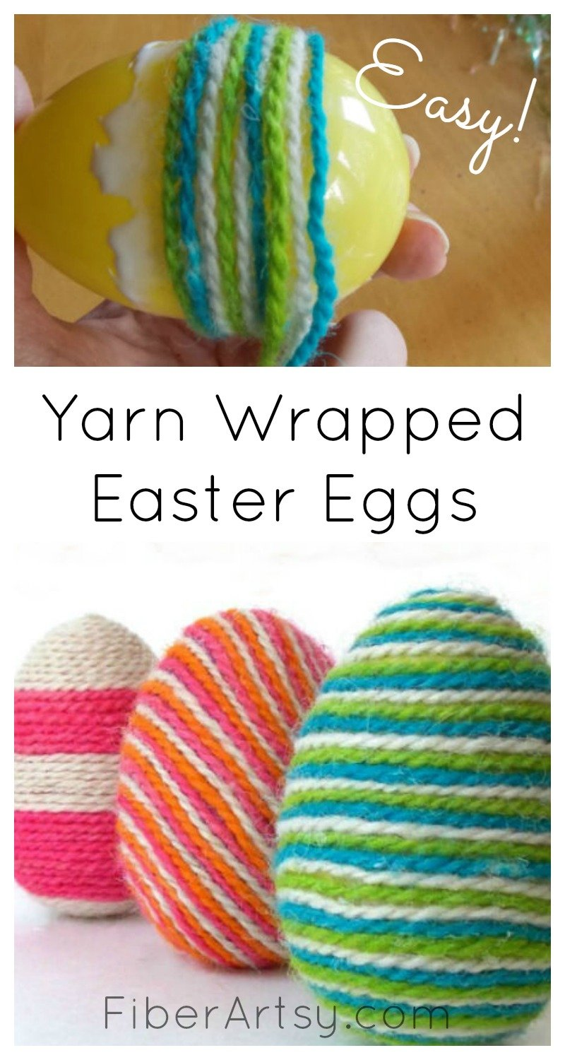 DIY Easter Eggs decorated with Yarn