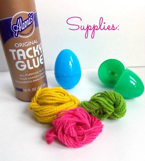 Colorful Easter Eggs decorated with Yarn