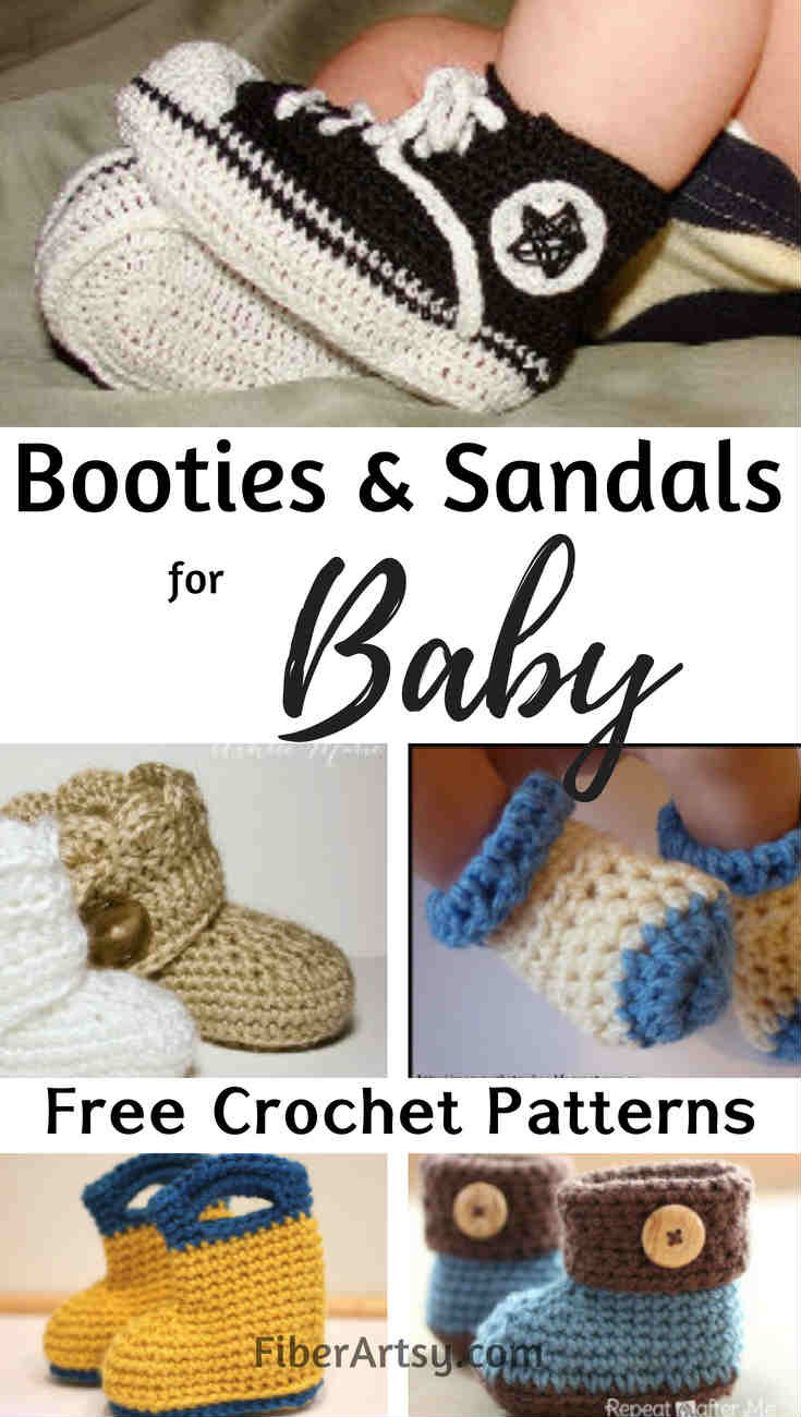 Free Crochet patterns for Baby Booties, Shoes and Sandals. Get your crochet hook and best yarn and needles. It's time to stitch up some baby booties. You can also finds lots of free patterns for hats, scarves, gloves, shawls and more for crochet and knitting at FiberArtsy.com